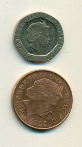 2 DIFFERENT COINS FROM GREAT BRITAIN   2 & 20 PENCE   BOTH DATING 2009