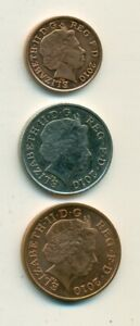 3 DIFFERENT COINS FROM GREAT BRITAIN   1 2 & 10 PENCE  ALL DATING 2010