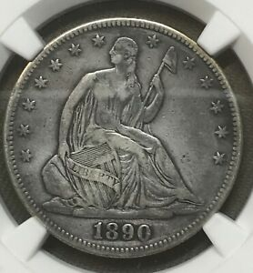 1890 LIBERTY SEATED  HALF DOLLAR  NGC VF DETAILS     DATE