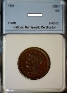 1851 CH AU   ERROR BRAIDED HAIR LARGE CENT COIN ROTATED REVERSE
