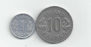BOTH DATING 1978 2 DIFFERENT COINS from ICELAND 1 /& 10 KRONER
