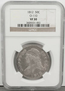 1812 CAPPED BUST SILVER 50C HALF DOLLAR OVERDATE ERROR O 110 NGC GRADED VF30