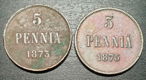 5 PENNIA FINLAND SET OF TWO YEARS 1873 1875 COPPER