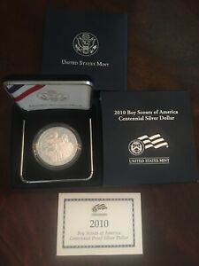 2010 PROOF SILVER BOY SCOUTS OF AMERICA CENTENNIAL SILVER DOLLAR OGP BOX COA