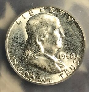 1958 FRANKLIN SILVER HALF DOLLAR ICG MS64. COLLECTOR COIN FOR YOUR COLLECTION.