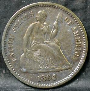 1864  LIBERTY SEATED HALF DIME  IDHH276