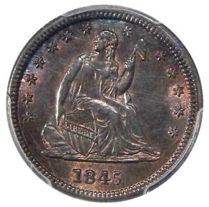 Click now to see the BUY IT NOW Price! 1845 25C PCGS UNC DETAILS FS 301   REPUNCHED DATE SEATED LIBERTY QUARTER VARIETY