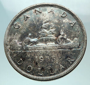 Click now to see the BUY IT NOW Price! 1955 CANADA W UK QUEEN ELIZABETH II VOYAGERS GENUINE SILVER DOLLAR COIN I82564