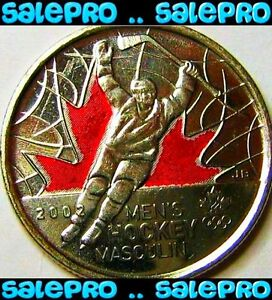 CANADA 2009 OLYMPIC MEN'S HOCKEY  RAISED '2' COLORIZED 25 CENT COIN BU UNC