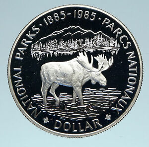 Click now to see the BUY IT NOW Price! 1985 CANADA UK QUEEN ELIZABETH II NATIONAL PARKS MOOSE SILVER DOLLAR COIN I83109