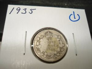 1935   SILVER   CANADIAN DIME   CANADA 10 CENTS