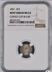 1851 NGC MS 63   3 CENT SILVER ERROR   CLIPPED PLANCHET    ERROR
