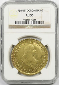 Click now to see the BUY IT NOW Price! 1758 PN J COLOMBIA 8E GOLD AU 50 NGC 8 ESCUDOS POP 2/0
