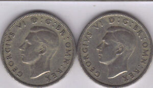 2 OLDER 2 SHILLING COINS FROM GREAT BRITAIN DATING 1947 & 1948