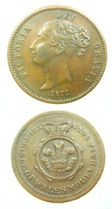 GREAT BRITAIN PRINCE OF WALES 1/2 SOVEREIGN 1872 JETON MEDAL VICTORIA 22 COIN