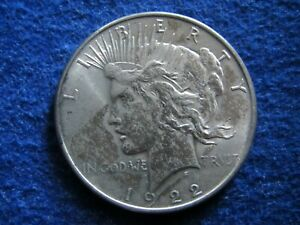 1922 PEACE SILVER DOLLAR   XF/AU DETAIL   UNEVEN TONING/COLOR  FREE U S SHIPPING