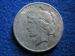 1922 S PEACE SILVER DOLLAR   VF DETAIL   UNEVEN TONING/COLOR   FREE U S SHIPPING