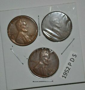 1952 P D S WHEAT PENNIES LINCOLN CENTS 1 CIRCULATED 3 COIN  SET