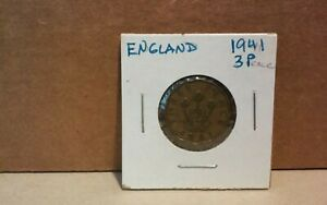 ENGLAND UK GREAT BRITAIN 3 THREE PENCE 1941 GOLD COLOR