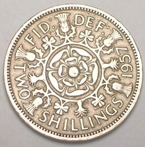 1957 UK GREAT BRITAIN 2 SHILLINGS DOUBLE ROSE COIN VF