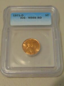 LINCOLN PENNY 1971 D ICG. MS66 RED