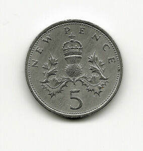 WORLD COINS   UK GREAT BRITAIN 5 NEW PENCE 1970 KM 911