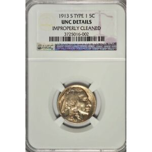 1913 S TYPE 1 BUFFALO NICKEL   NGC UNC DETAILS  GREAT COLLECTOR COIN  C205UUHSC2