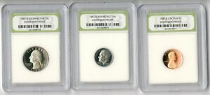 UNITED STATES  1987 S 25 & 10 & 1 CENT GEM PROOF SLABBED COINS   SLAB1002