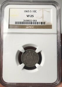 Click now to see the BUY IT NOW Price! 1865 S SEATED LIBERTY DIME VF 25 NGC    101A LARGE DEPRESSION VARIETY