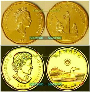 2X CANADA 1995 CANADIAN PEACEKEEPING EX  2018 NEW LOONIE UNC $1 DOLLAR COIN LOT