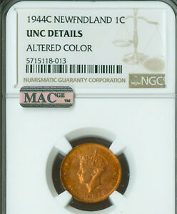 Click now to see the BUY IT NOW Price! 1944 C NEWFOUNDLAND CENT NGC MS 63 ALTERED COLOR  MAC SPOTLESS .
