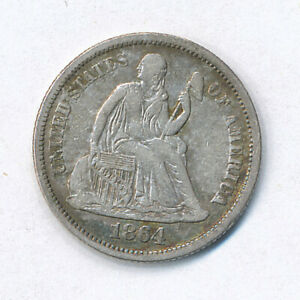 1864 LIBERTY SEATED HALF DIME   FINE