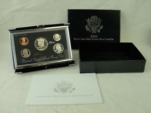 1995 US MINT PREMIER SILVER PROOF SET IN BOX WITH COA