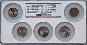 2000 P NGC  SOUTH  CAROLINA STATE  QUARTER  25C 5 PC SLABBED  COIN SET  ERROR