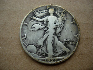 1929 D VF HIGHER GRADE BETTER EARLY DATE WALKING LIBERTY SILVER HALF DOLLAR L28