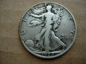 1929 S VF HIGHER GRADE BETTER EARLY DATE WALKING LIBERTY SILVER HALF DOLLAR L28