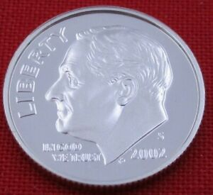 2002 S GEM PROOF DEEP CAMEO ROOSEVELT DIME FROM PROOF SET   90  SILVER  10652