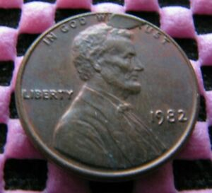 1982 LINCOLN CENT WITH OBVERSE CUD ERROR