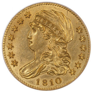 1810 CLASSIC HEAD $5 SMALL DATE LARGE 5 PCGS CERTIFIED AU53 OLD GREEN LABEL GOLD