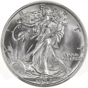 1934 WALKING LIBERTY 50C PCGS CAC CERTIFIED MS65 NICE BLAST WHITE SURFACES