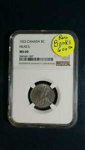 1922 CANADA FIVE CENTS NGC MS60 NEAR S 5C COIN PRICED TO SELL NOW
