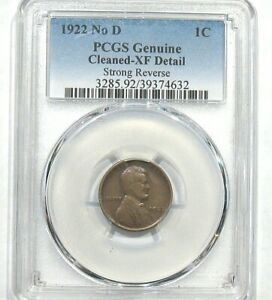 1922 NO D PCGS GENUINE CLEANED XF DETAIL STRONG REVERSE LINCOLN CENT
