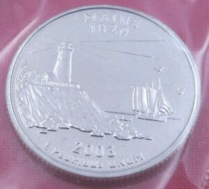 2003 D MAINE STATE QUARTER IN MINT CELLO FROM US MINT SET   UNC  10798