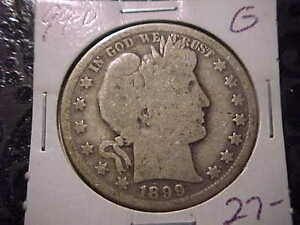 1899 O  GOOD  BARBER HALF DOLLAR  Y AND PART OF T