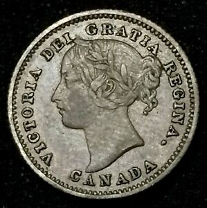 CANADA 1885 OBV 4 TEN CENTS DIME IN F15 CONDITION TONED.$300 J30