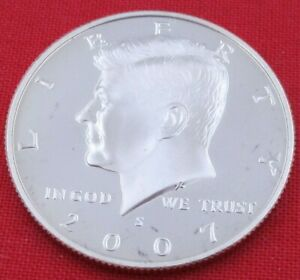 2007 S GEM PROOF DEEP CAMEO KENNEDY HALF FROM PROOF SET   UNC   CLAD  10853