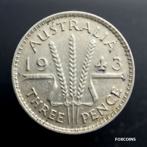 1943 AUSTRALIA 3 PENCE SILVER FOREIGN COIN. . LOW S&H
