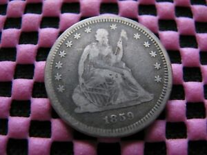 1859 P SEATED QUARTER WITH  TYPE 2 OBVERSE