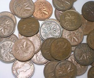 CANADIAN CENTS 1937 73 GEORGE VI ELIZABETH II COMPLETE SET OF COINS  LOT OF 38