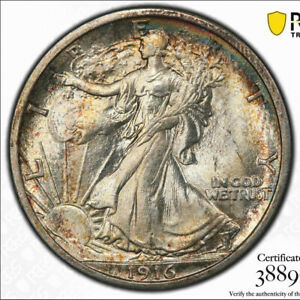 Click now to see the BUY IT NOW Price! 1916 D/D 50C PCGS MS 65 FS 501 RPM   POP 2 WALKING LIBERTY HALF DOLLAR VARIETY